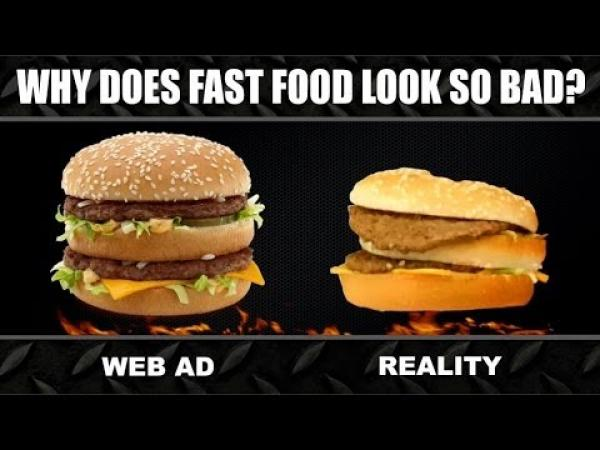 Jídlo z fast food vs. reklama