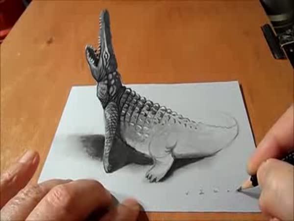 Optická iluze - malování krokodýla