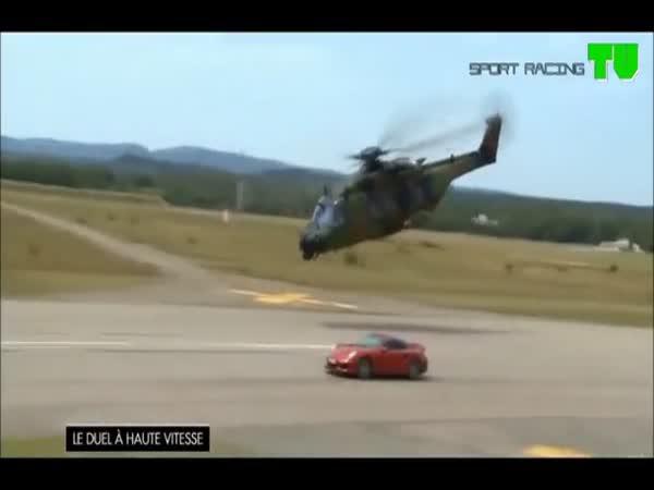 Porsche vs. vojenská helikoptéra