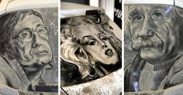GALERIE - Kresby z prachu na autě