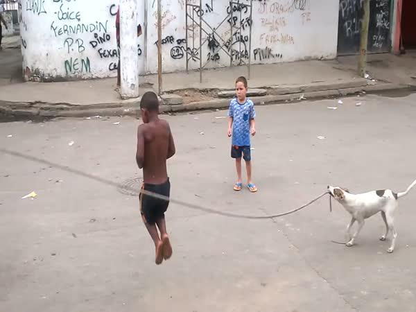 Skákání přes švihadlo se psem