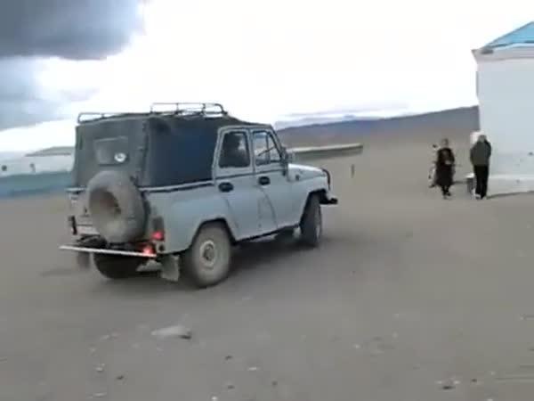 Školní autobus v Kazachstánu