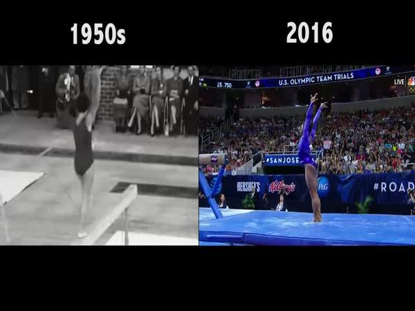 Vrcholová gymnastika - 1950 vs. 2016