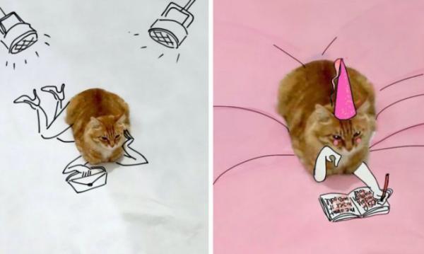 GALERIE - Kočka součástí vtipných ilustrací