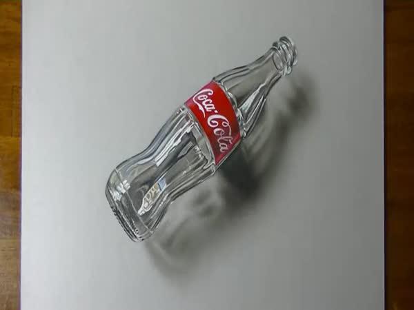 Úžasné 3D kreslení - láhev od Coca Coly