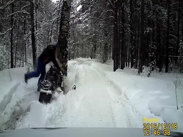 Poprvé na sněžném skútru