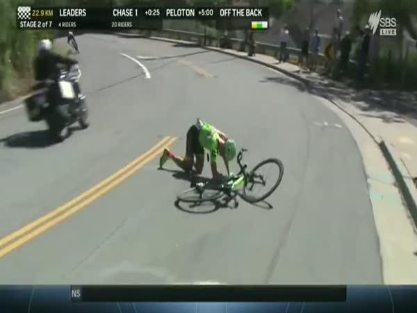 Otřesený cyklista po pádu