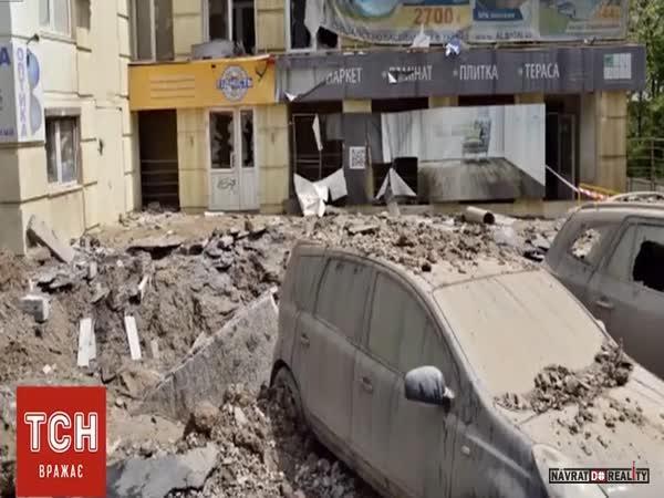 Prasklé vodovodní potrubí v Kyjevě