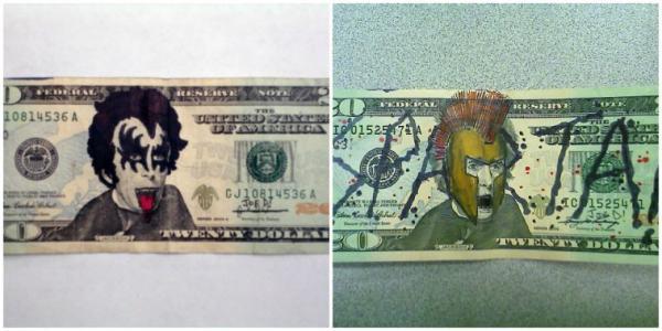 GALERIE - Vtipně pokreslené peníze 1