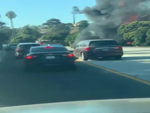 Požár na dálnici