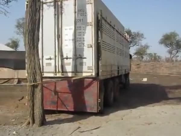 Vykládka kontejneru v Súdánu