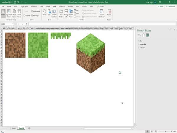 Minecraft logo v Excelu