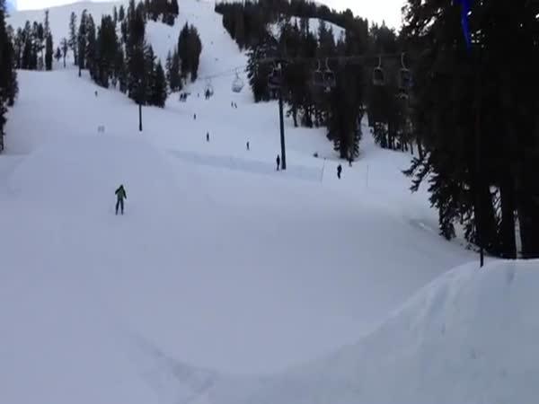 První pokus o skok na lyžích